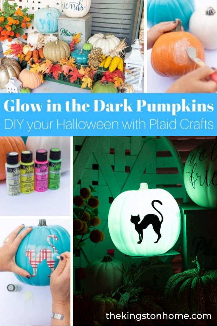 Pumpkin Craft Ideas: Glow In The Dark Paint - The Kingston Home: Want to add a spooky glow to your Fall home decor? Use glow in the dark paint to create an eerie yard or front porch using Plaid Crafts Acrylic paints! via @craftykingstons