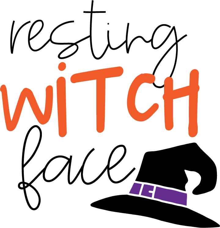 PNG file with witches hat and resting witch face text