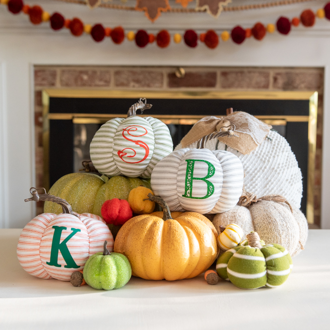 group of fall pumpkins and Cricut fabric pumpkins