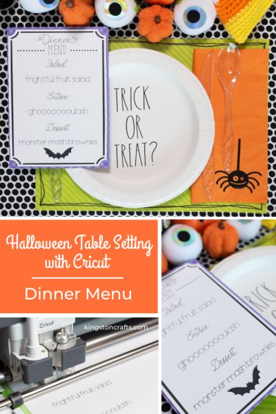 Halloween Table Setting with Cricut Dinner Menu