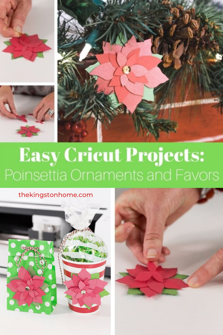 Easy Cricut Projects Poinsettia Ornaments and Favors - The Kingston Home: Three cheers for easy Cricut projects! With just a few sheets of cardstock and your Cricut machine you can create quick and easy Christmas ornaments and party favors with images in Cricut Design Space! via @craftykingstons