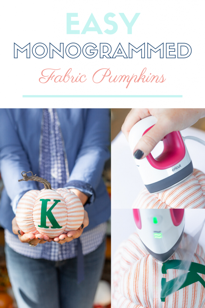 Easy Monogrammed Gifts Fabric Pumpkins with Cricut EasyPress Mini - The Kingston Home