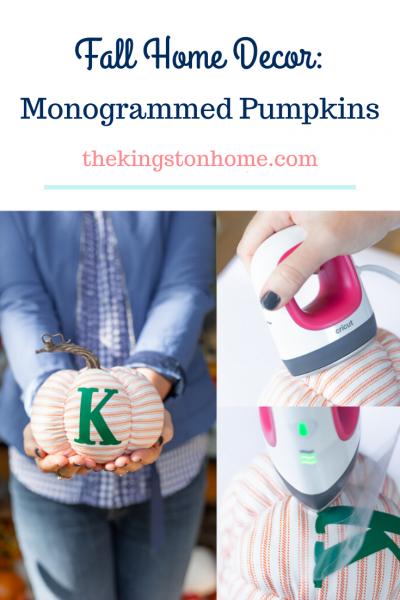 Fall Home Decor Monogrammed Pumpkins - The Kingston Home