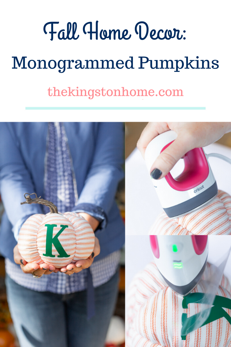 Fall Home Decor Monogrammed Pumpkins - The Kingston Home: Looking for quick and easy monogrammed gifts for the season? Everybody loves pumpkins and these monogrammed fabric pumpkins took me less than ten minutes to make! via @craftykingstons