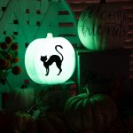 glow in the dark pumpkin with black cat