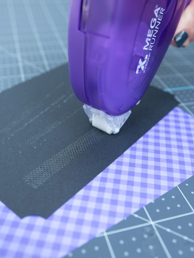 apply some adhesive on the back of your menu and adhere it the patterned scrapbooking paper