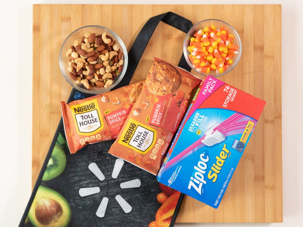 walmart bag, NESTLÉ® TOLL HOUSE Pumpkin Spice Morsels, Ziploc® Brand Sliders