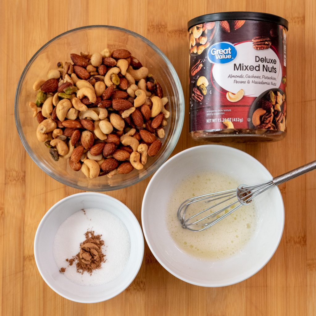 mixed nuts for pumpkin swirl popcorn