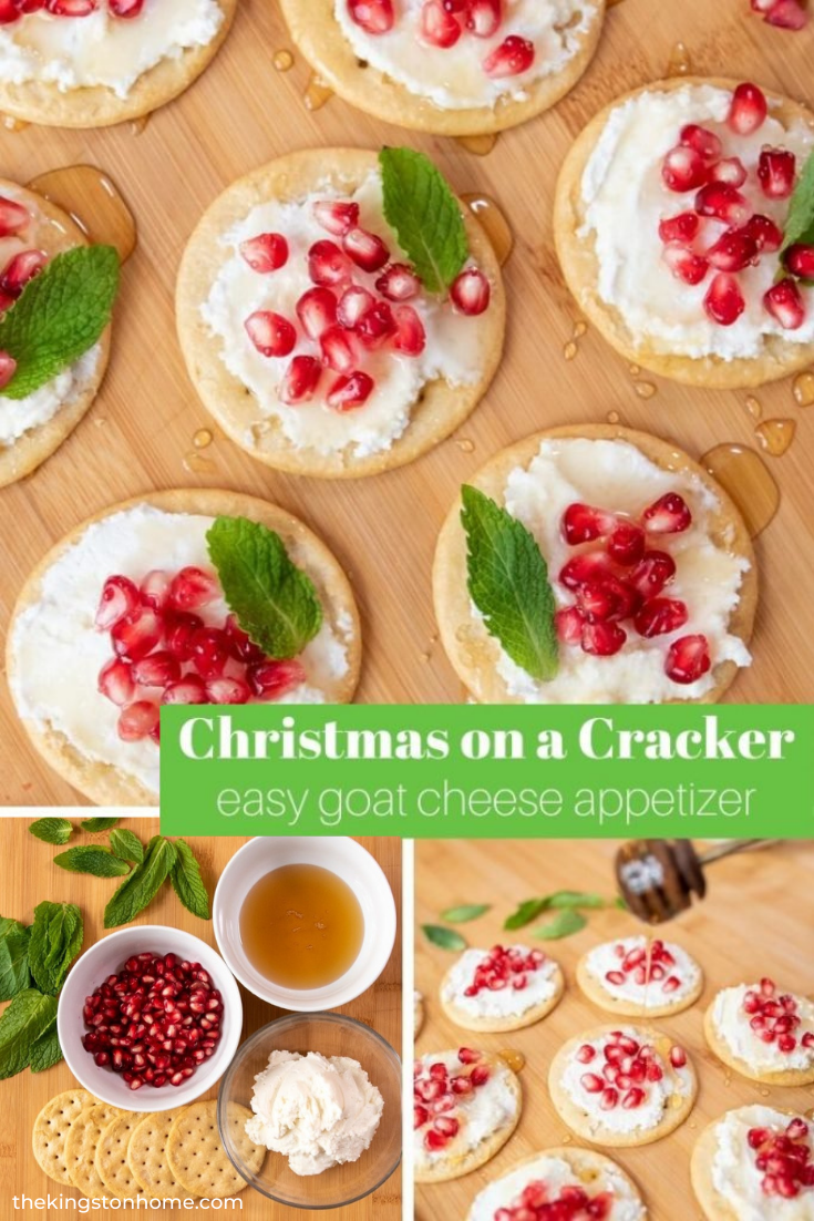 Christmas on a Cracker Easy Goat Cheese Appetizer - The Kingston Home: Looking for an easy goat cheese appetizer this holiday season? Look no further than these Christmas on a Cracker taste treats! via @craftykingstons