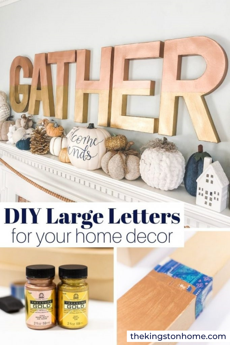 DIY Large Letters for Your Home Decor - The Kingston Home: I love BIG gifts. Not big as in expensive - but big as in LARGE and in charge! One of my all time favorite go-to DIY gifts is inexpensive, custom painted large letters. Whether it is a last name, a favorite word to celebrate the holidays, a themed gift for a baby or bridal shower, the possibilities are endless. And they make SUCH a statement! via @craftykingstons