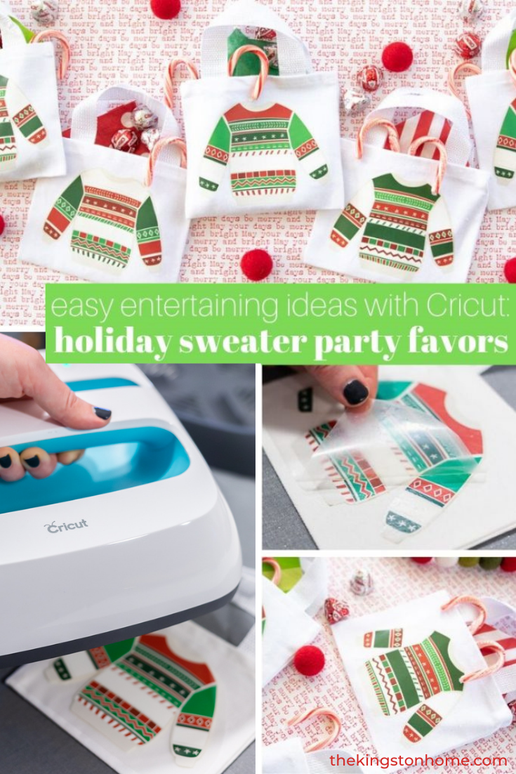 Easy Entertaining Ideas Holiday Sweater Party Favors - The Kingston Home: Is it really Christmas without a holiday sweater? Creative or crazy, sparkly or smart-alecky, holiday sweaters are a fun way to celebrate the season and we're making it easy to share the love with these quick and easy holiday sweater party favors using Cricut Iron-On Designs. via @craftykingstons