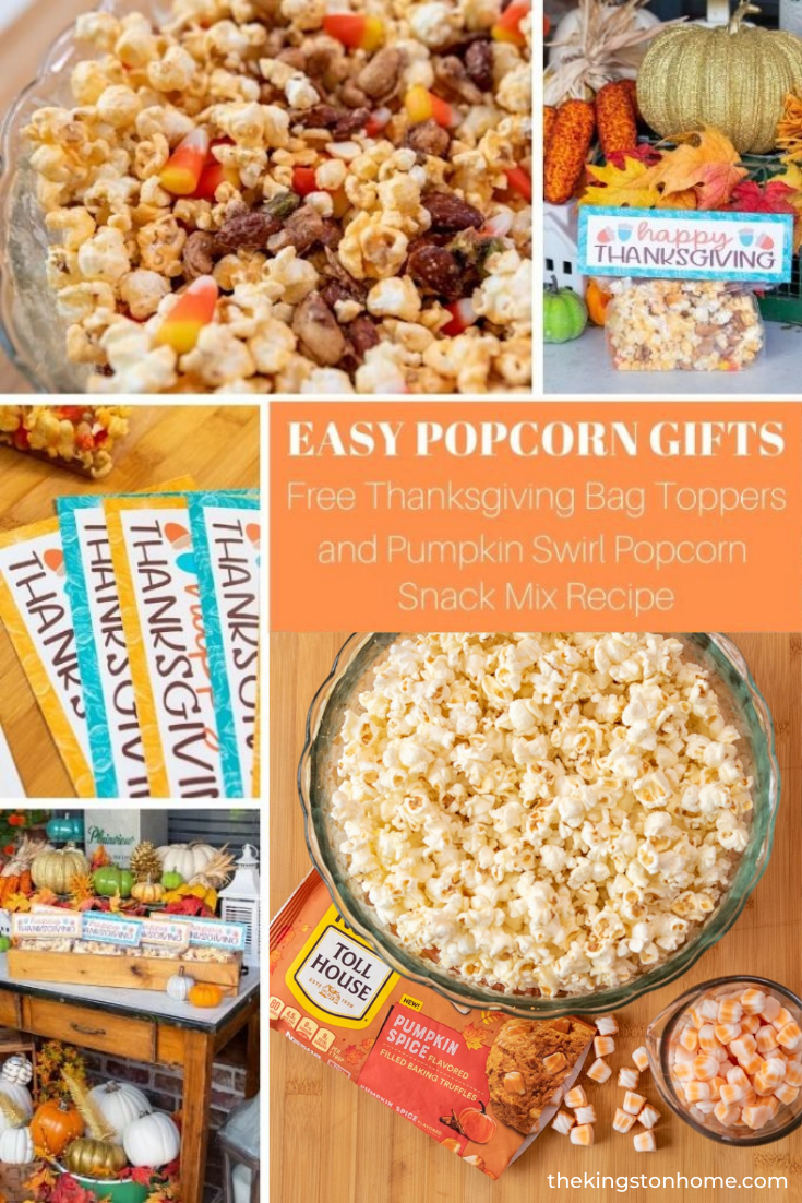 Easy Popcorn Gifts Pumpkin Swirl Popcorn and Free Printable - The Kingston Home: Fall is here, and that means it is time to pumpkin spice all the things! These easy popcorn gifts will let us surprise our friends and neighbors with a treat this Thanksgiving. We grabbed some Ziploc® Brand Slider Bags and these ridiculously delicious NESTLÉ® TOLL HOUSE Pumpkin Spice Morsels and whipped up a batch of pumpkin swirl popcorn that is our newest addiction. Best of all—we're sharing a free Thanksgiving bag topper printable to make it easy to spread the pumpkin spice love! via @craftykingstons