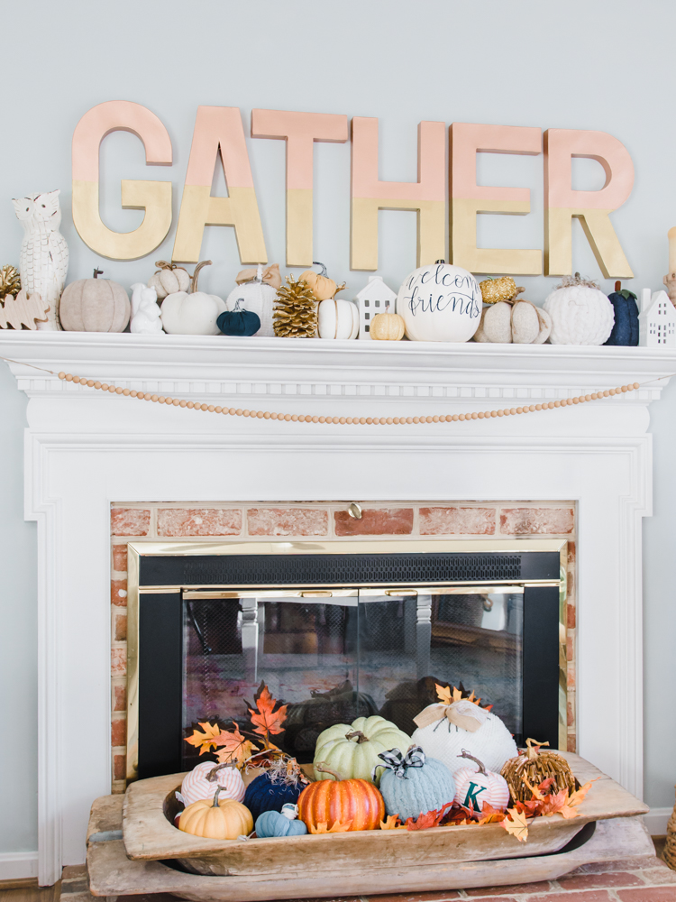 home decor gather sign above fireplace