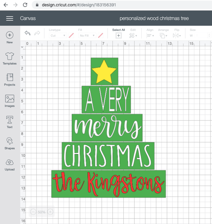 edit christmas tree file in cricut design space