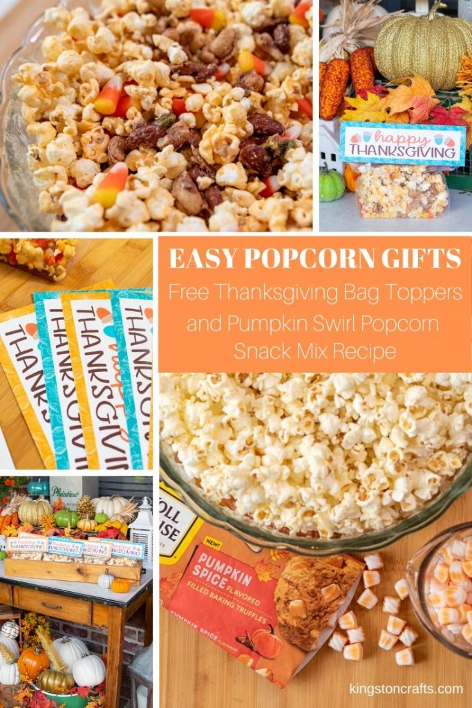 Easy Popcorm Gifts Free Thanksgiving Bag Tippers and Pumpkin Swirl Popcorn Snack Mix Recipe