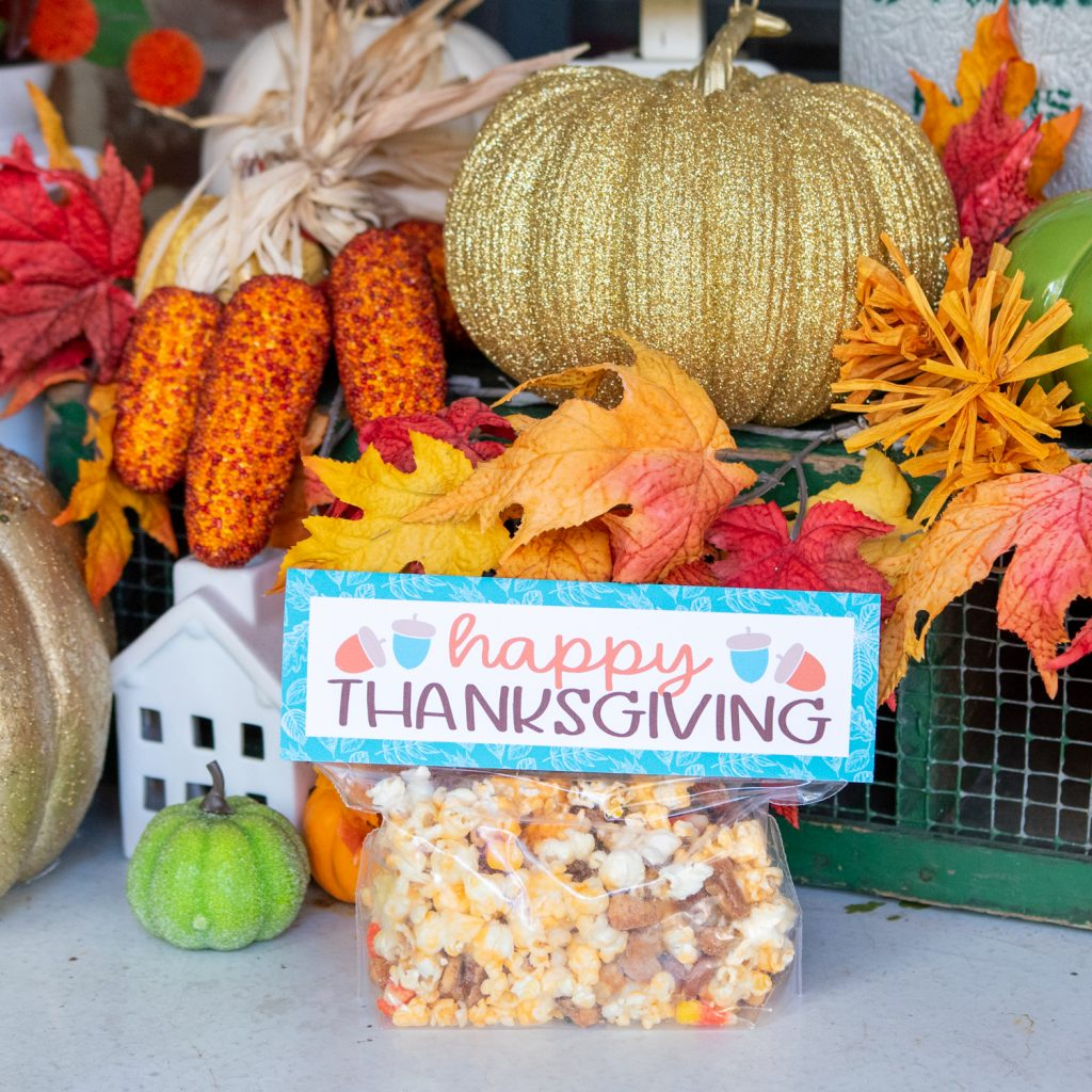 free printable happy thanksgiving easy popcorn gift