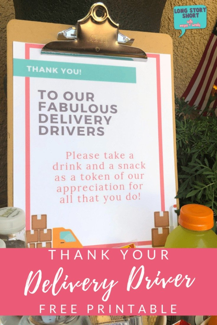 Free Delivery Driver Printable Sign by Megan & Wendy