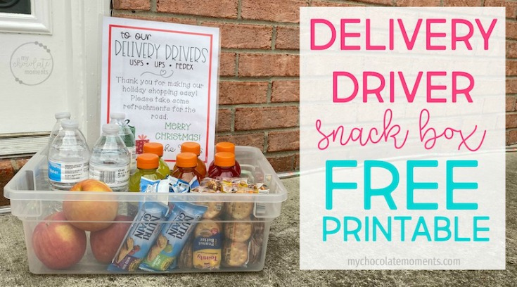 Delivery Driver Snack Box Free Printable by My Chocolate Moments