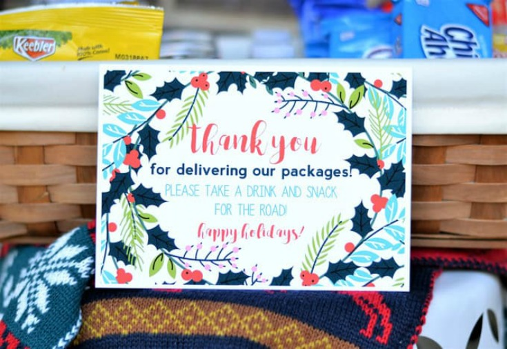 Holiday Thank You Basket For Delivery Drivers by Burlap + Blue