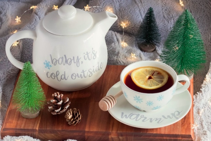 Baby, It's Cold Outside Teapot Set Made With the Cricut Maker