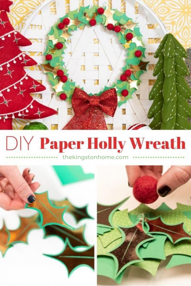 DIY Paper Holly Wreath - The Kingston Home: With an embroidery hoop, some cardstock and a Xyron Glaminator you can create a paper holly wreath that glimmers and shines just in time for Christmas! via @craftykingstons