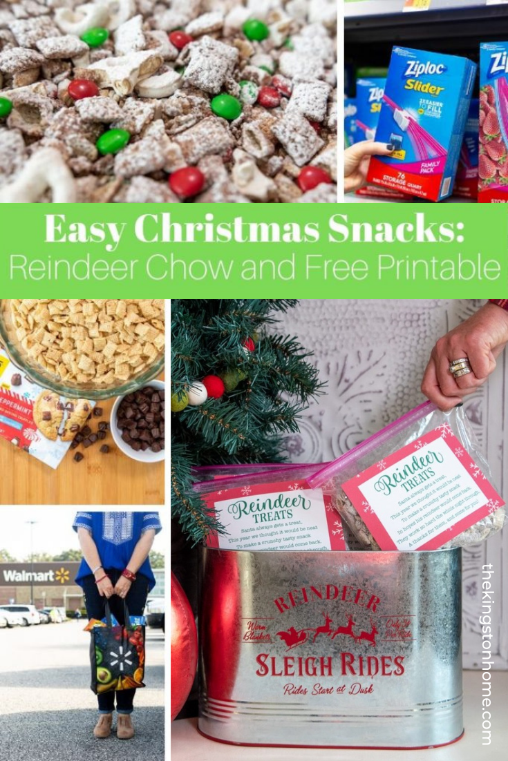EASY CHRISTMAS SNACKS: REINDEER CHOW AND FREE PRINTABLE - The Kingston Home: This post has been sponsored by the makers of ZIPLOC® Brand + NESTLÈ® TOLL HOUSE. All thoughts and opinions are my own. via @craftykingstons