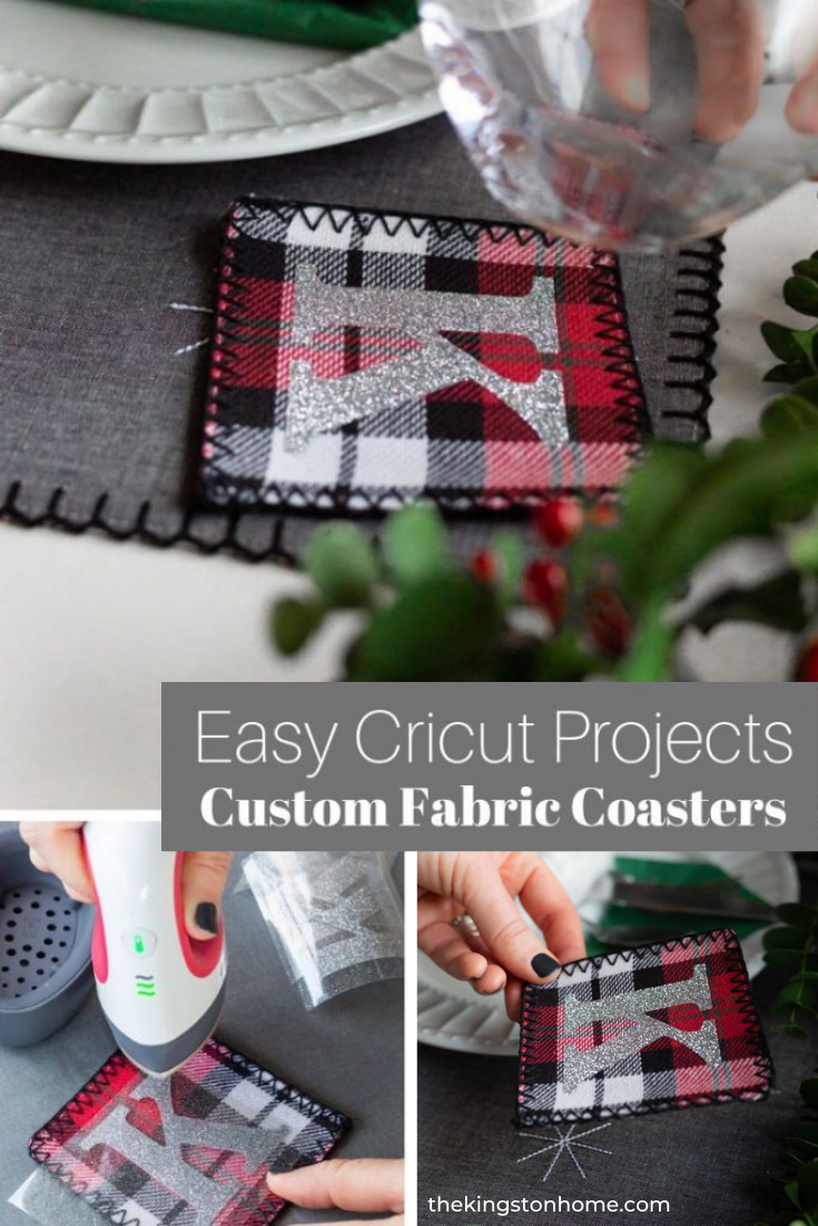 Easy Cricut Projects: Custom Fabric Coasters - The Kingston Home: Looking for some easy Cricut projects this holiday season? These custom fabric coasters only take a few minutes to make but can double as table decoration AND party favors for your guests! Who doesn't love a two-fer? via @craftykingstons