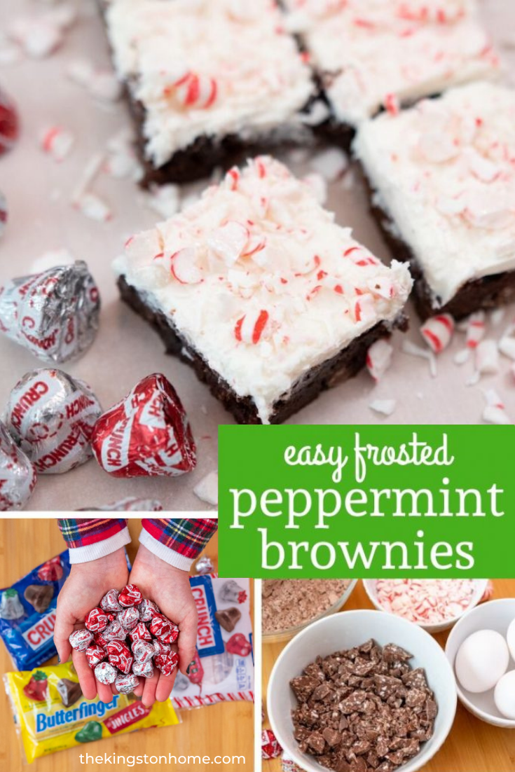 Easy Frosted Peppermint Brownies - The Kingston Home: Peppermint and brownies are the BFFs of holiday baking. In this easy peppermint brownies recipe they come together in rich bars with chunks of Crunch Peppermint Jingles topped with frosting and crushed candy canes. A match made in Christmas Heaven! via @craftykingstons