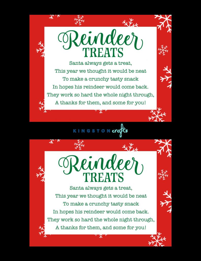 reindeer treats free printables