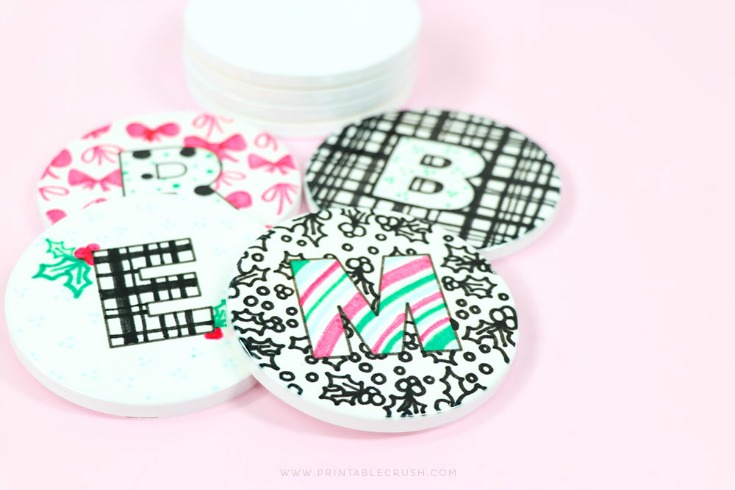 black and white drink coasters with monograms