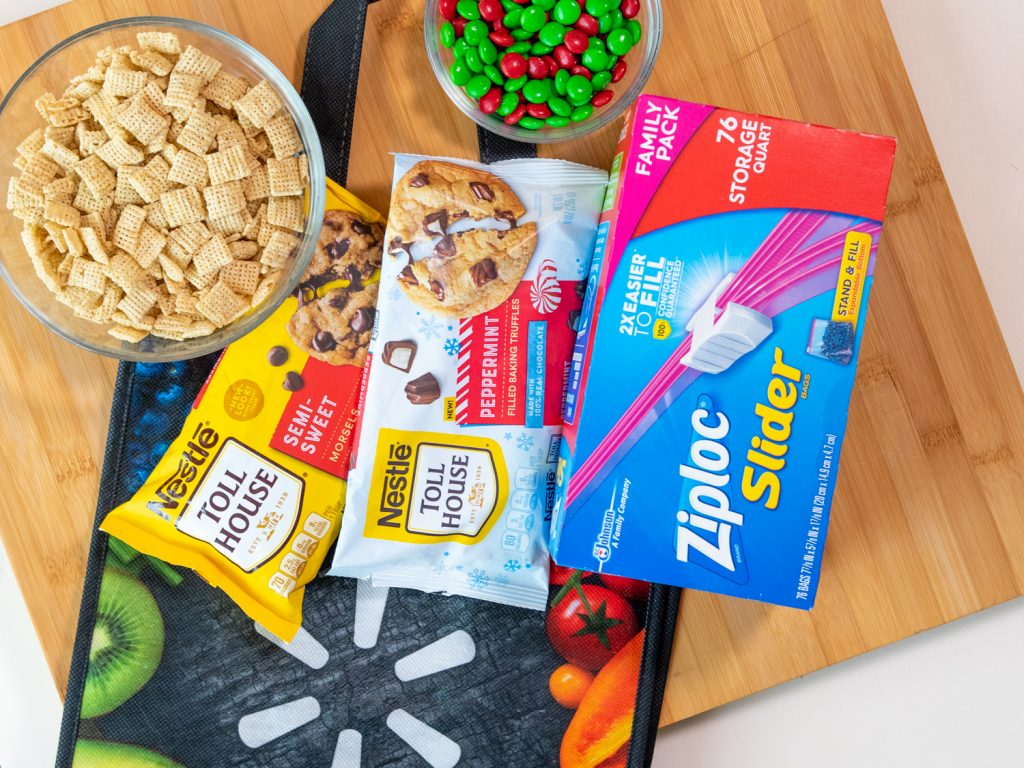 rice square cereal, Nestle® Toll House Peppermint chips, Ziploc® Slider storage bags, and walmart bag
