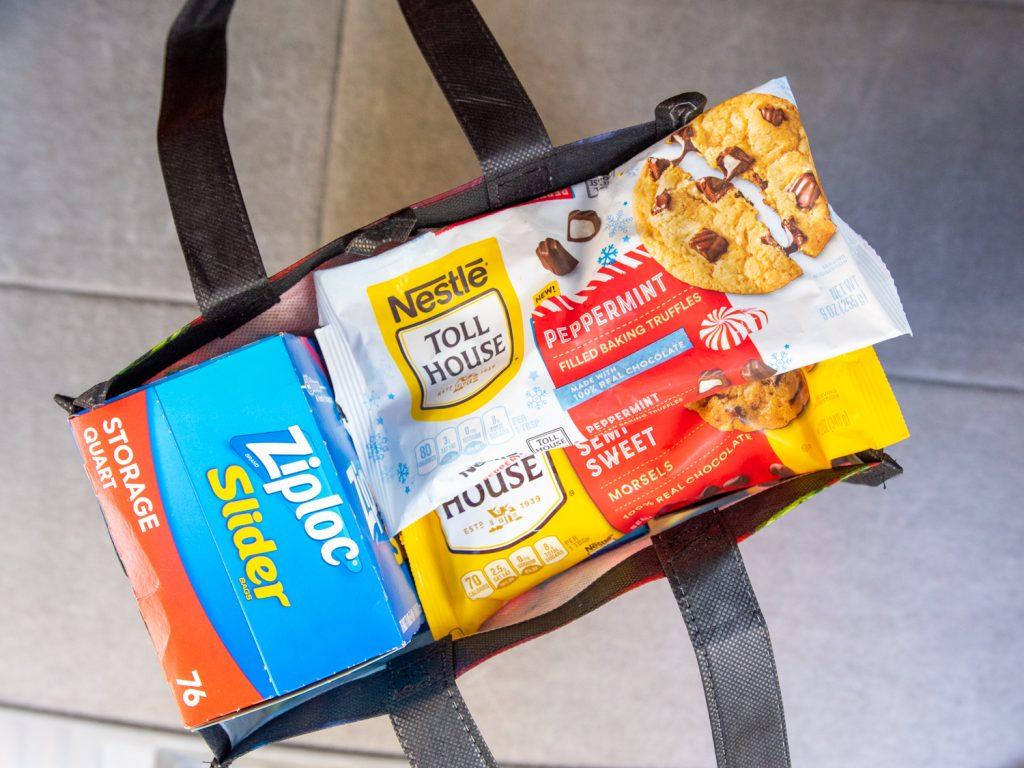 Nestle® Toll House Peppermint chips and Ziploc® Slider Storage Quart