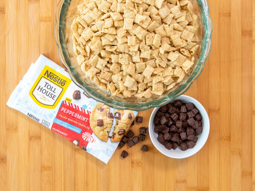 rice square cereal and Nestle® Toll House Peppermint chips
