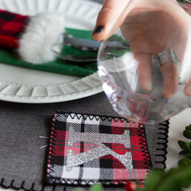 monogrammed fabric coaster