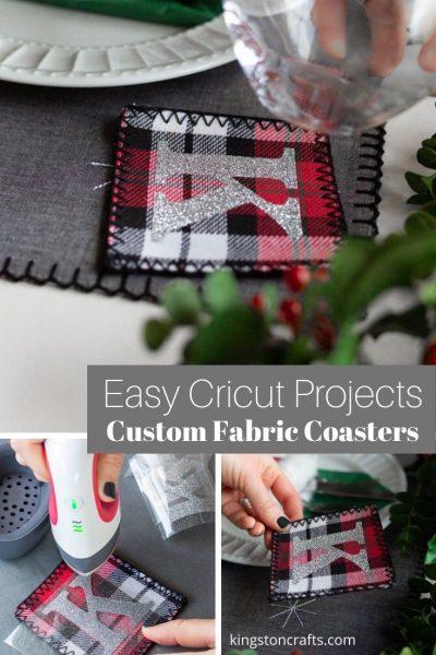 Easy Cricut Projects Custom Fabric Coasters