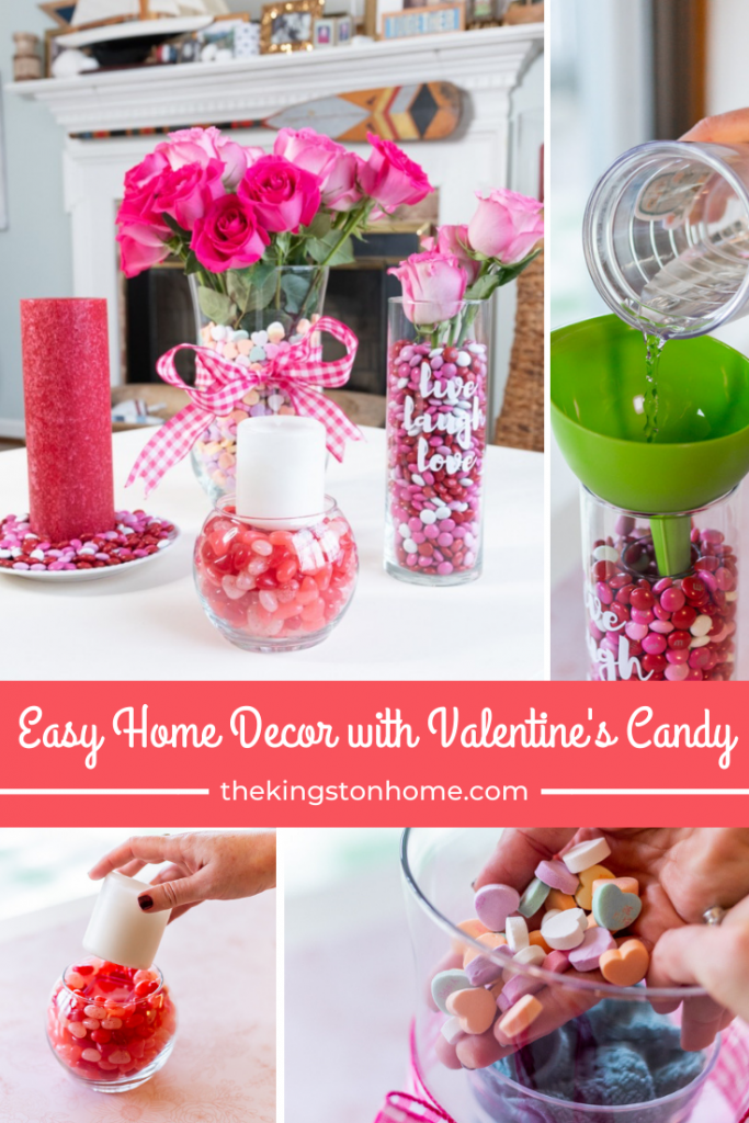 easy home decor with valentines's candy