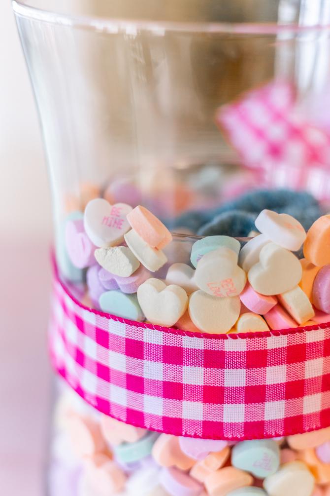 converstations hearts inside of large vase