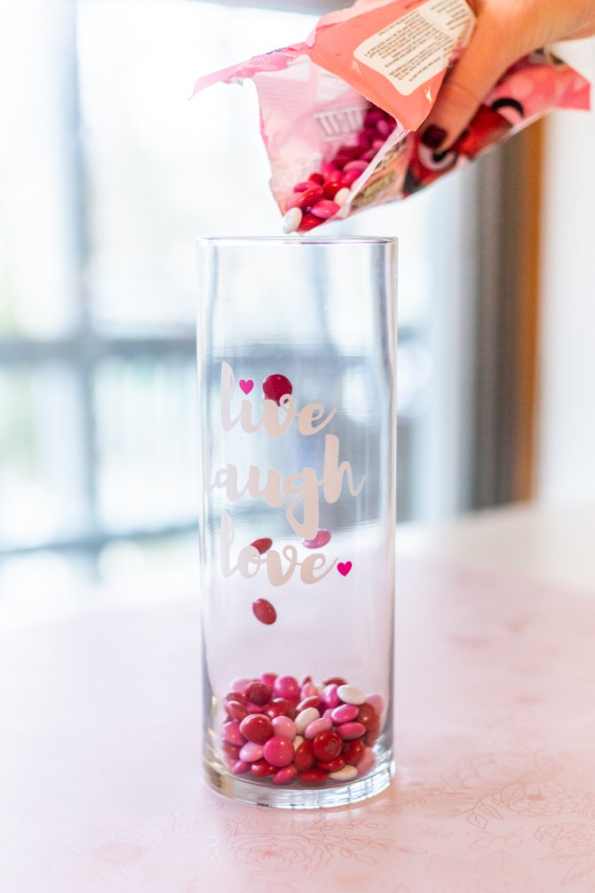 m&ms inside large vase for valentine's day candy craft