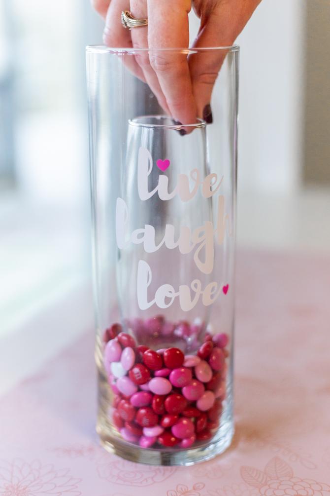 bud vase inside large vase for m&ms inside large vase for valentine's day candy craft