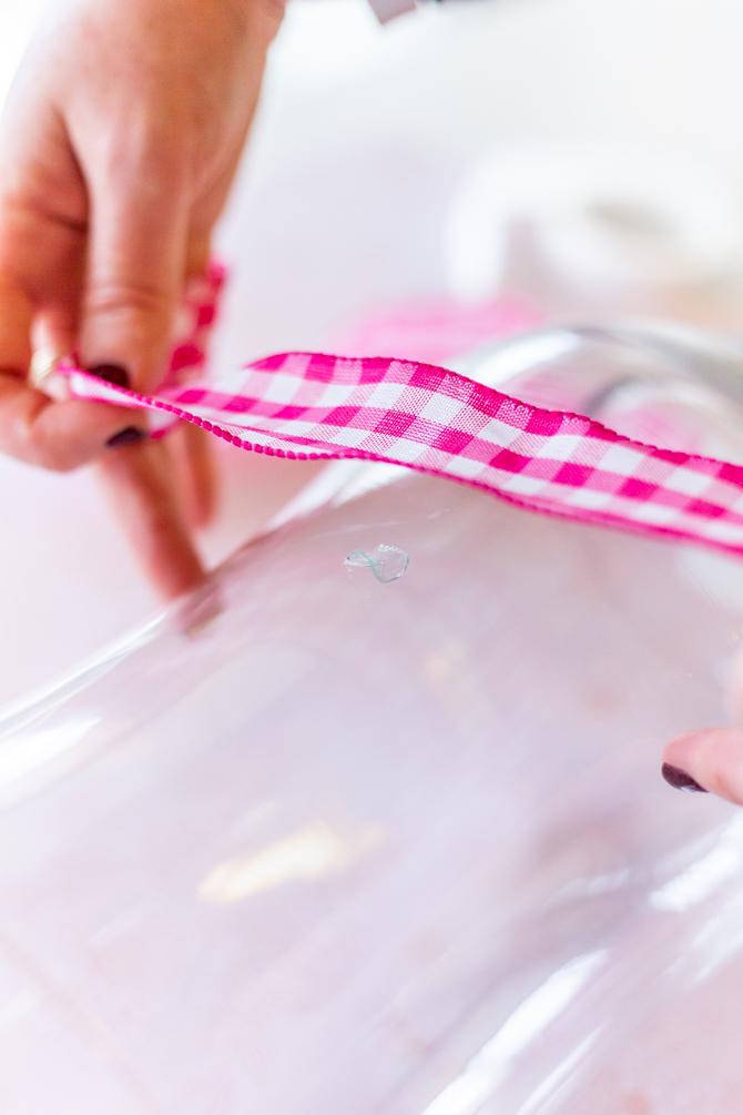 add ribbon to large vase