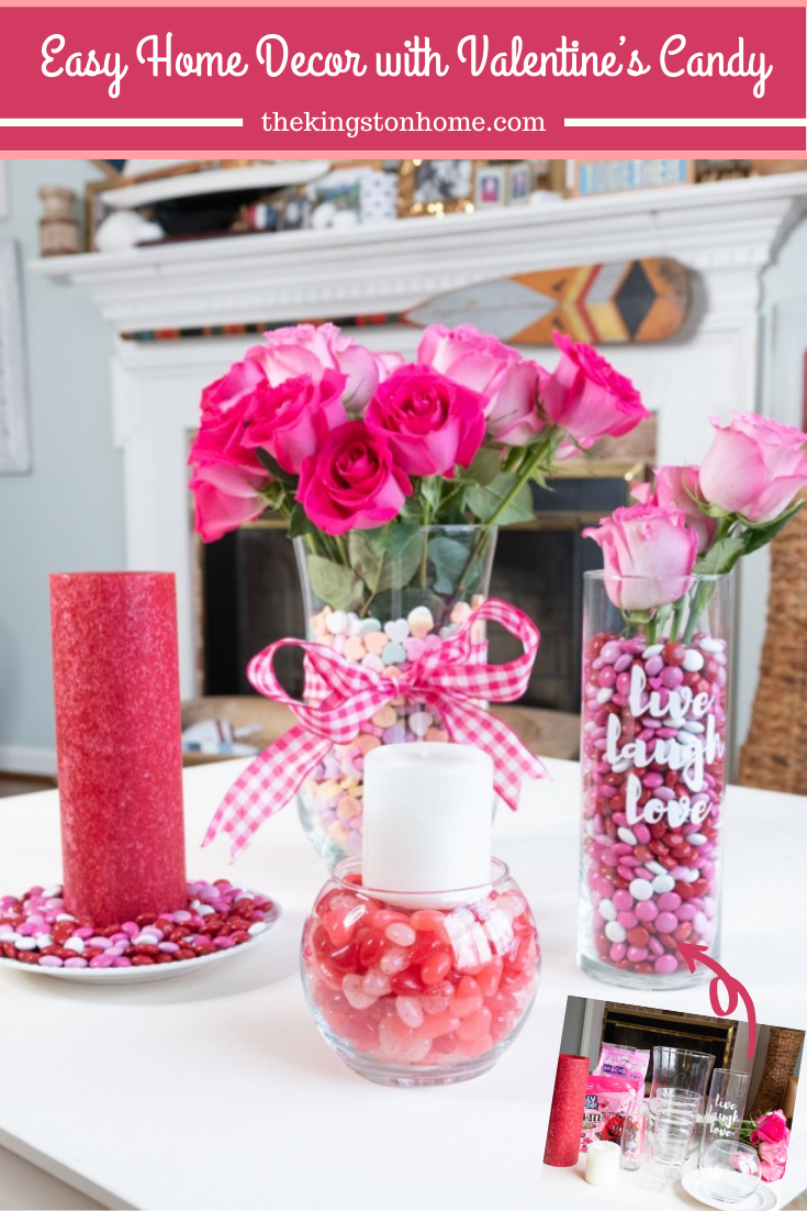 Easy Home Decor with Valentine's Candy - The Kingston Home: Using some Valentine's Candy, turn your kitchen glassware into fun home decor pieces for Valentine's Day! via @craftykingstons