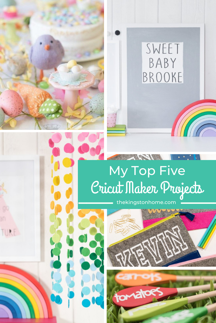 My Favorite Cricut Maker Projects - The Kingston Home: Are you looking for some fun projects to create with your Cricut Maker? Getting a Maker changed the way I create - and today I'm sharing my top five Cricut Maker projects that are all easy and inexpensive to make! via @craftykingstons