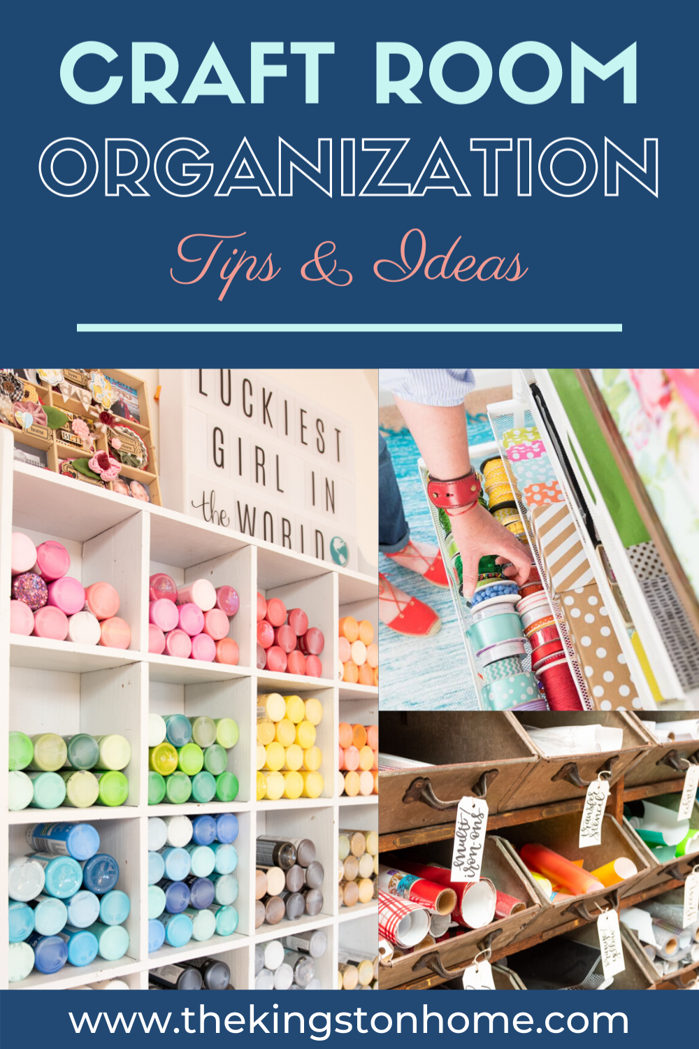 Join Me For My Craft Room Tour - The Kingston Home: Let's talk about craft room organization! Whether you've got a large room, a small closet or are crafting on your dining room table – I've joined with some of my favorite people to share our favorite storage and organization tips from our own craft rooms. via @craftykingstons
