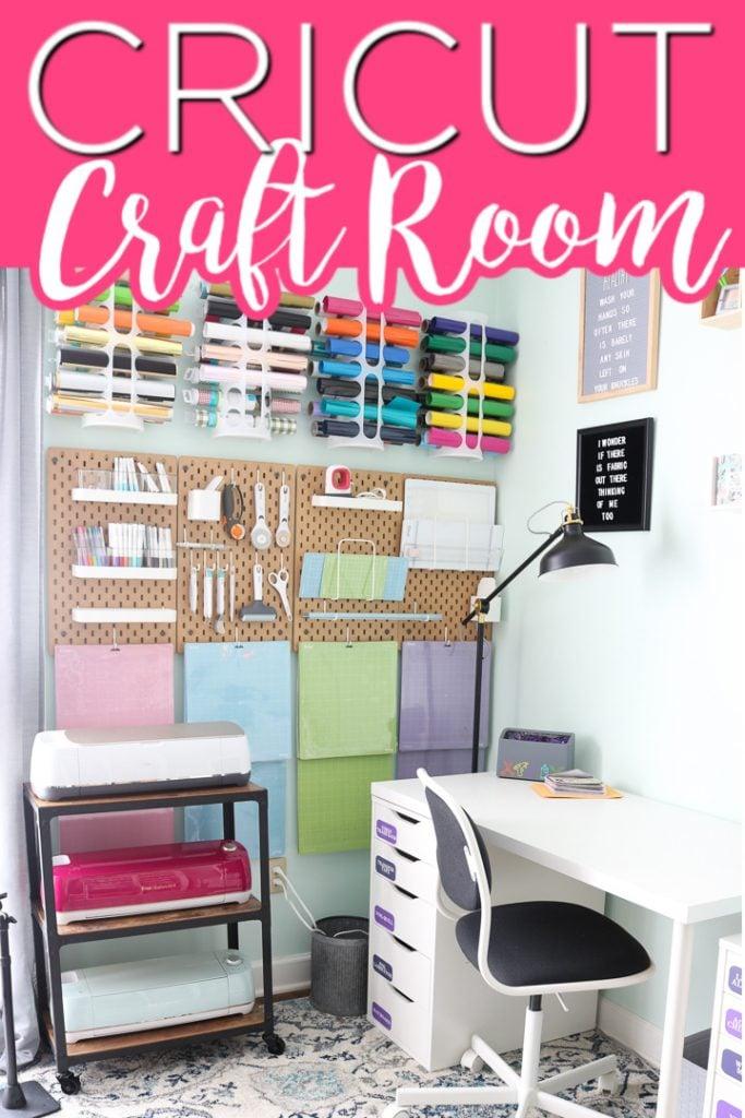 Cricut machines sitting on cart in bright craft room