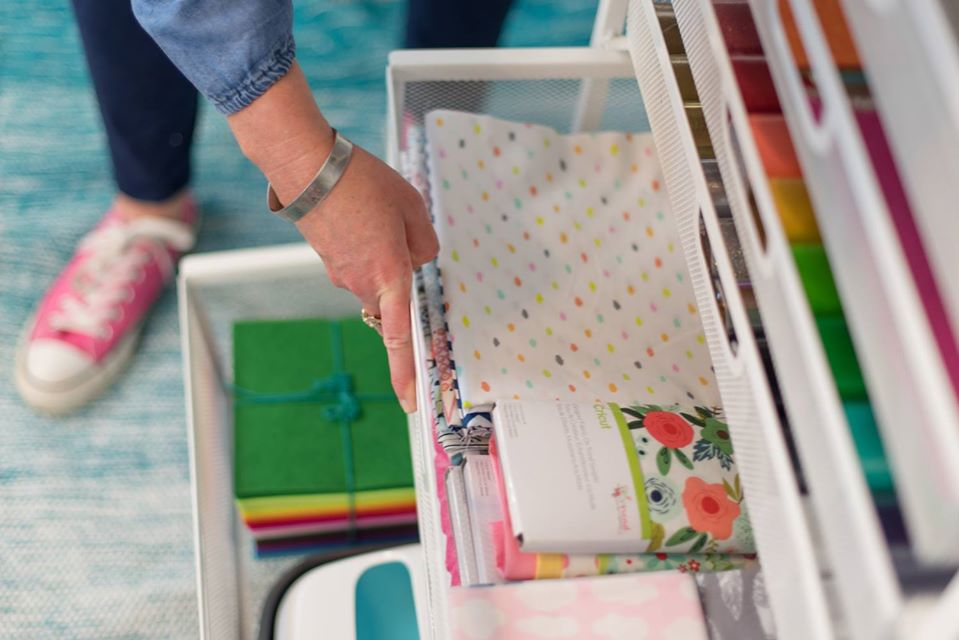 metal drawers filled with craft supplies