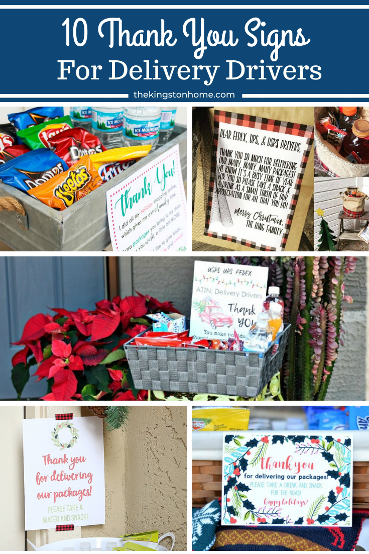 10 Thank You Signs for Delivery Drivers - The Kingston Home: Share some kindness (and snacks) this holiday season, by saying ''thank you'' to your delivery drivers! Today we have gathered up ten FREE Thank You Signs printables so you can create your own ''snack station'' to thank your local delivery drivers! via @craftykingstons