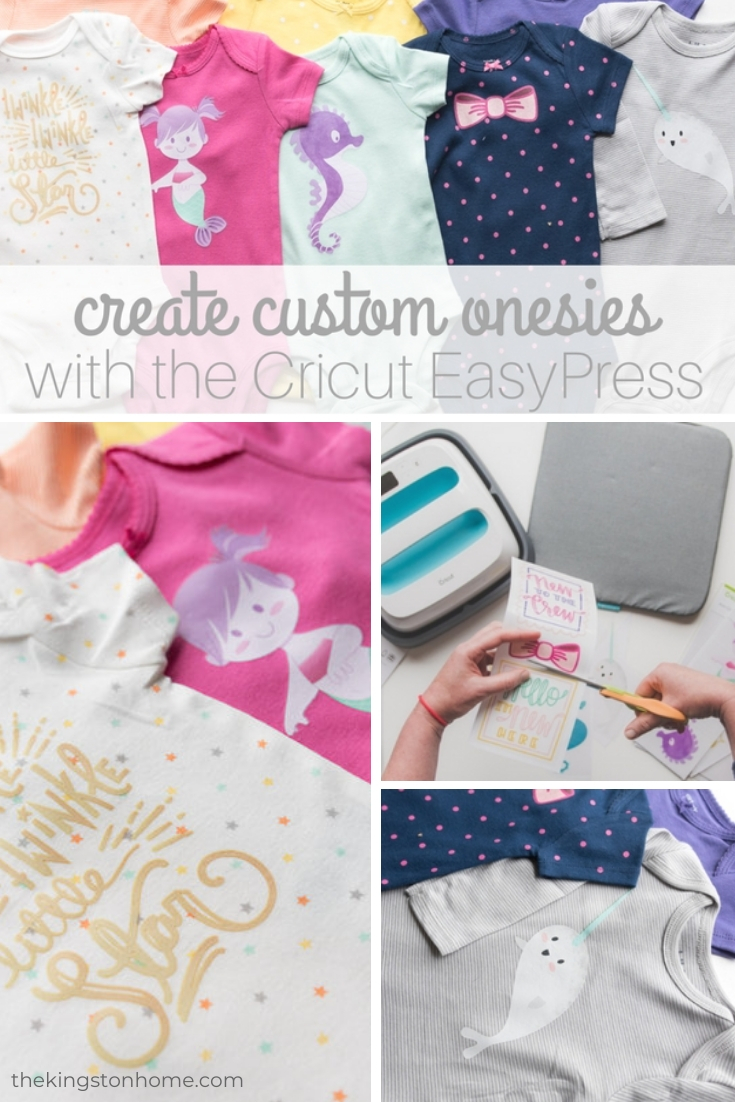 Create Custom Onesies with the Cricut EasyPress - The Kingston Home: Create custom onesies in just a few minutes with pre-made Cricut Iron-On Designs! Looking for last minute baby gift ideas? Want to create inexpensive but custom onesies? Then these babies are for you! See what I did there? via @craftykingstons