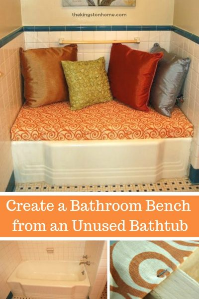 Create a Bathroom Bench from an Unused Bathtub - The Kingston Home