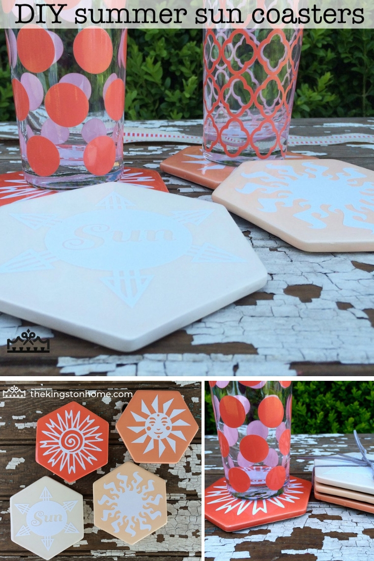 Cricut Explore One Summer Sun Coasters - The Kingston Home: Learn how to transform a set of store-bought coasters, into the perfect summertime coasters, by using your Cricut machine and some vinyl! via @craftykingstons