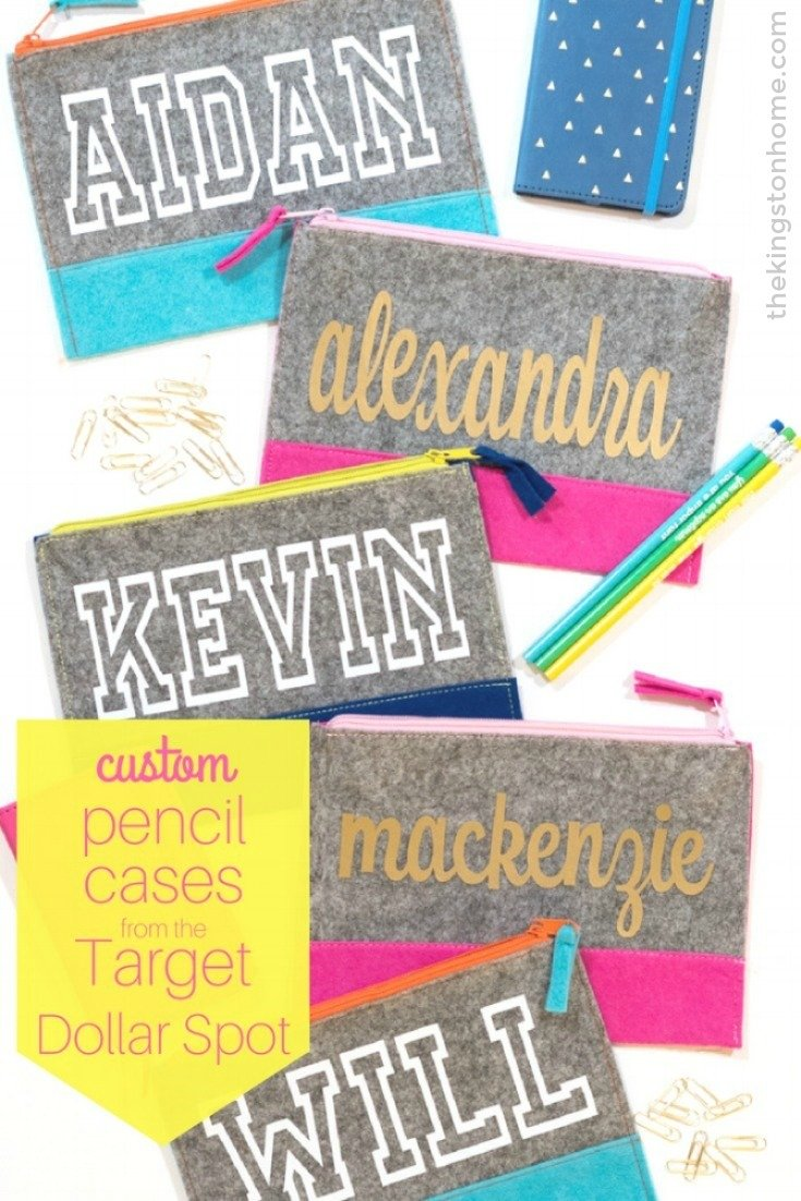 Custom Pencil Cases for Girls and Boys - The Kingston Home: With just a few minutes, your Cricut machine and these cute pouches from the Target Dollar spot, you can create custom pencil cases for girls and boys just in time for back to school! via @craftykingstons